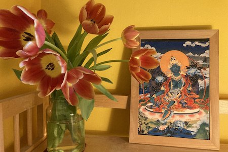 Tulip Flowers with Picture of Green Tara