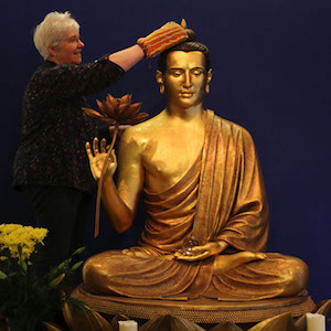 Cleaning Buddha Statue