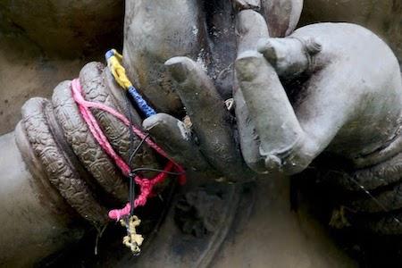 Detail from Prajnaparamita figure, showing hand mudra