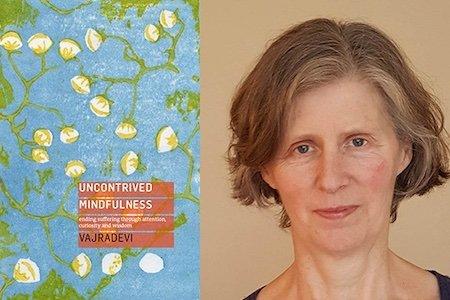 Vajradevi with book cover: Uncontrived Mindfulness