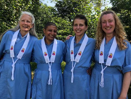 Taralocana, Aryaraksita, Sripaksini, Lilasuri in blue ordination robes