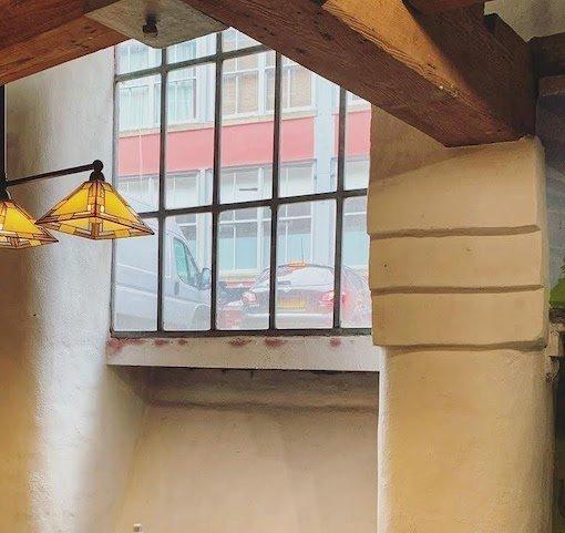 Window in basement cafe