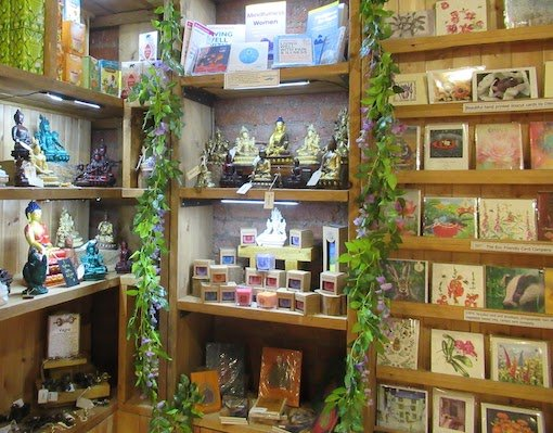 Shop with Buddhas and Cards